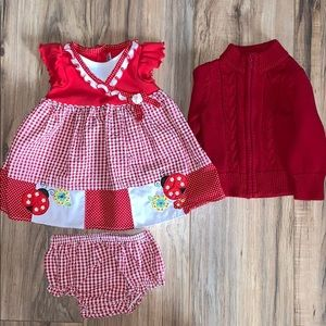 Red and white ladybug dress w/ bloomers & sweater
